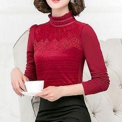lilygirl - Rhinestone Pleated Collar Long Sleeve Top