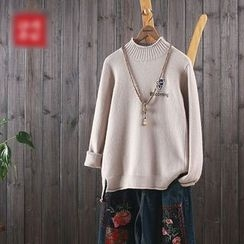 aerokiss - Dog Embroidered Mock Neck Sweater