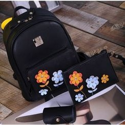 Coxchamp - Set:  Floral Faux Leather Backpack + Clutch + Card Holder