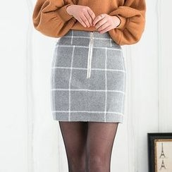 Loverac - Check Straight Fit Skirt