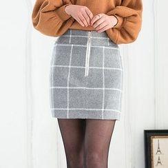 潞依韓 - 格子直筒裙