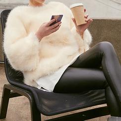 chuu - Brushed-Fleece Lined Faux-Leather Leggings