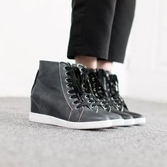VIVIER - Platform-Heel Lace-Up Sneakers
