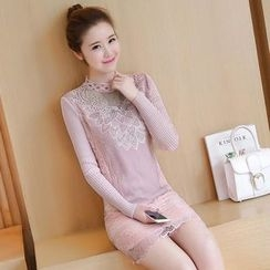 lilygirl - Lace Trim Long Sleeve Knit Dress