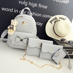 Little Days - 套裝: 蝴蝶結飾背包 + 單肩包 + 手包 + 卡套