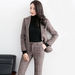 Eleganza - Set: Plaid Blazer + Boot Cut Pants