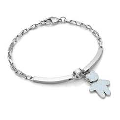 Kenny & co. - Baby Blue Dot Pattern Bear Charm With Steel Bracelet