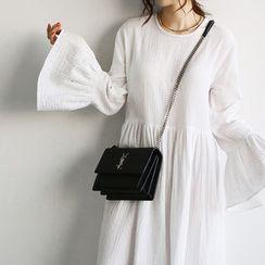 NANING9 - Ruffle-Cuff A-Line Long Dress