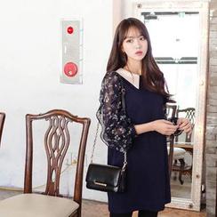 mimi&didi - Collared Flower Pattern Chiffon-Sleeve Mini Dress