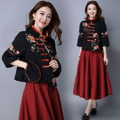 Diosa - Flower Embroidered Mandarin Collar 3/4 Sleeve Jacket