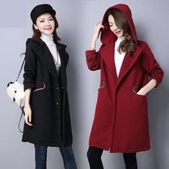 Diosa - Plain Hooded Long Padded Coat