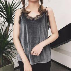 Octavia - Lace Trim Velvet Camisole Top