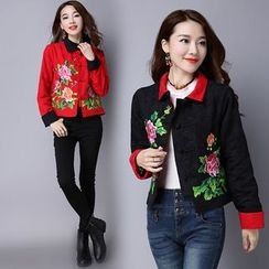 Diosa - Flower Embroidered Cropped Jacket