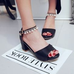 Shoes Galore - Embellished Block Heel Sandals