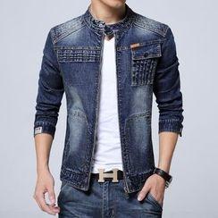 Bay Go Mall - Band Collar Denim Jacket