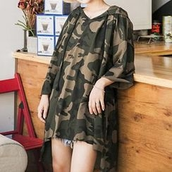 Cloud Nine - Camouflage Print Hooded 3/4-Sleeve T-Shirt Tunic