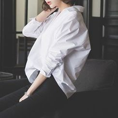 Lovebirds - Long-Sleeve V-Neck Blouse