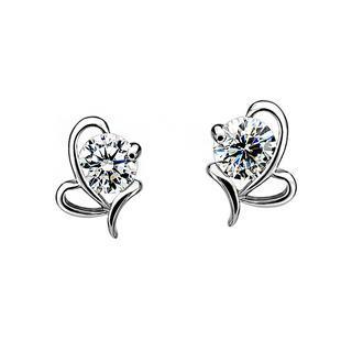 BELEC - 925 Sterling Silver Butterfly White Cubic Zircon Stud Earrings
