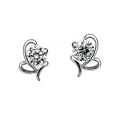 BELEC - 925 Sterling Silver Butterfly White Cubic Zircon Stud Earrings