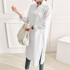 JOAMOM - Pocket-Front Long Shirt