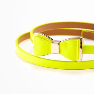 Moonbasa - Bow-Accent Faux-Leather Slim Belt
