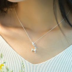 Kitty Kiss - 925 Sterling Silver Deer Pendant Necklace