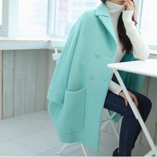 WHITE FOX - Double-Breasted Loose-Fit Coat