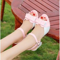Shoes Galore - Colour Block Block Heel Sandals