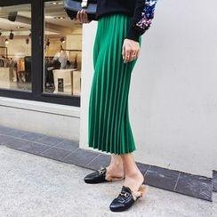 DISCOSALON - Band-Waist Pleated Midi Skirt