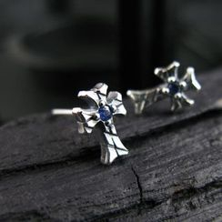 Sterlingworth - Hand Made Blue Sapphire Cross Single Stud Earring