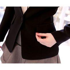 Marlangrouge - Collarless One-Button Blazer