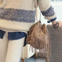 REDOPIN - Faux-Suede Fringed Shoulder Bag