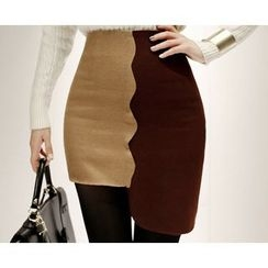 Marlangrouge - Color-Block Asymmetric-Hem Skirt