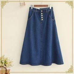 Fairyland - Denim Maxi A-Line Skirt