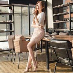 ERANZI - Lace-Overlay Mini Pencil Skirt