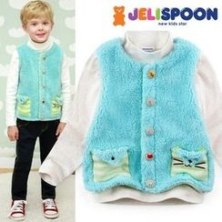JELISPOON - Kids Cat Pocket Coral-Fleece Vest