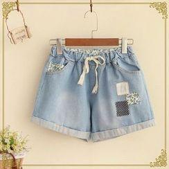 Fairyland - Appliqué Washed Denim Shorts