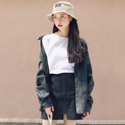 MIKPO - Faux Leather Collared Jacket