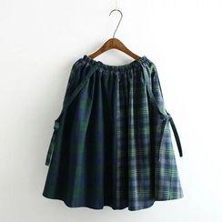 Angel Love - Plaid Panel A-Line Skirt