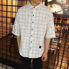 百高 - 格子短袖襯衫