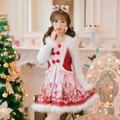 Candy Rain - Long-Sleeve Mock Two Piece Pleated Dress