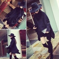 QZ Lady - Fringe Hem High-Neck Cape Sweater