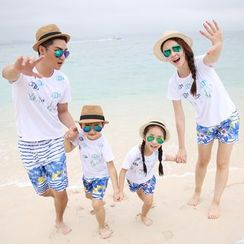 Hinode - Family Matching Set: Fish Print Short Sleeve T-Shirt + Floral Print Shorts