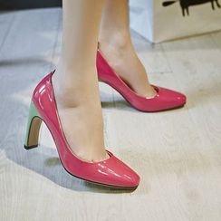 JY Shoes - Colour Block High-heel Pumps