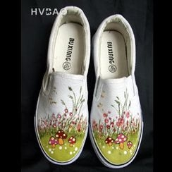 "HVBAO - ""Signs of Spring"" Canvas Slip-Ons"