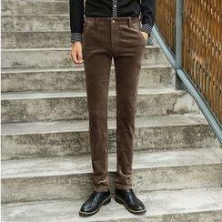 Consto - Straight Leg Corduroy Pants