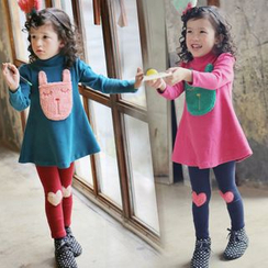 Seashells Kids - Kids Set: Stand Collar Pullover + Heart Pad Pants