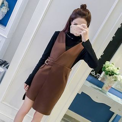 Ashlee - Set: Plain Long Sleeve Top + Asymmetric Hem Pinafore Dress