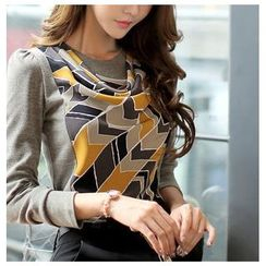 Zyote - Long-Sleeve Pattern Panel Top
