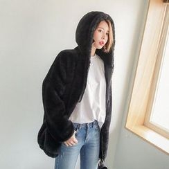Seoul Fashion - Faux-Fur Zip-Up Jacket